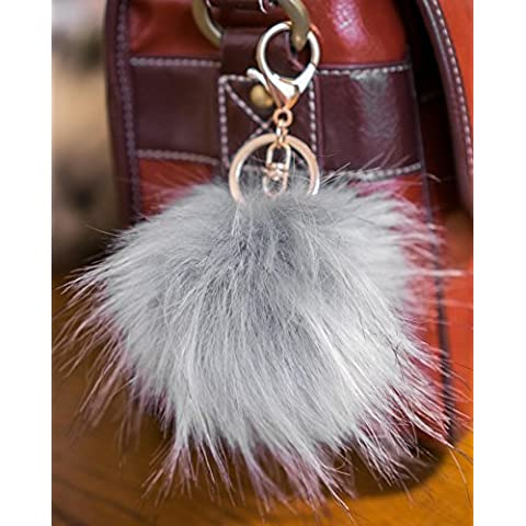 3per 2. 12cm Grande e morbida, in finta pelliccia Raccoon Stile POM POM grande designer oro chiusura portachiavi ciondolo, Silver Grey