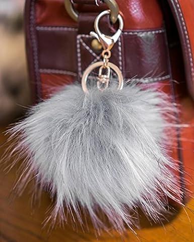 Lot de 3, 12cm Grand, fourrure pelucheuse de Puschel raton laveur Look, avec porte-clés Doré gris