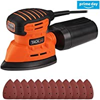 Detail Sander, Tacklife PMS01A 130W Compact Mouse Detail Sander with Dust Extraction Element 12,000 OPM Orbital Sander Including 12 PCS Sandpapers for Furniture Finishing
