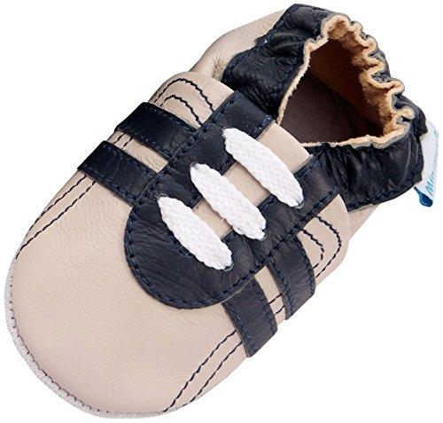 MiniFeet Premium Weich Leder Babyschuhe - Verschiedene Stile - Jungen und Mädchen BabySchuhe - Neugeborene bis 3-4 Jahre Beige Trainer