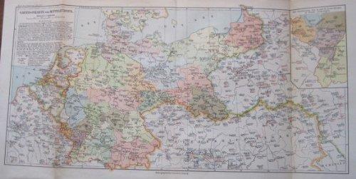 Garnisonskarte von Mitteleuropa, Stand vom 1. Januar 1907 - Historische Karte von 1902 / 1920 - Original !