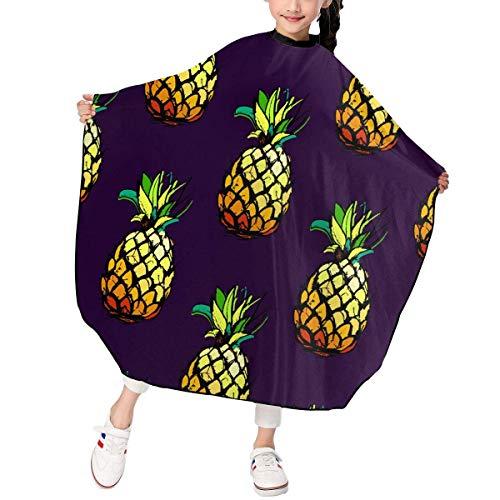 Pineapple Fruit Pattern Kids Girls Haircut Apron Cape Hair Cutting for Hairdresser Salon Shampoo