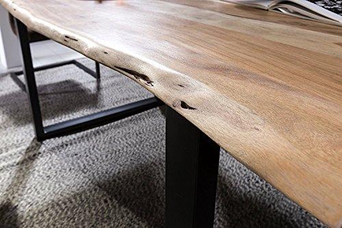 SAM® Stilvoller Esszimmertisch Quentin 140x80 cm aus Akazie-Holz, Tisch mit schwarz lackierten Beinen, Baum-Tisch mit naturbelassener Optik - 3