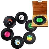 Manteniendo un® marca nueva 6x Retro registro de CD vinilo café bebida copa Mat posavasos Chic silicona vajilla
