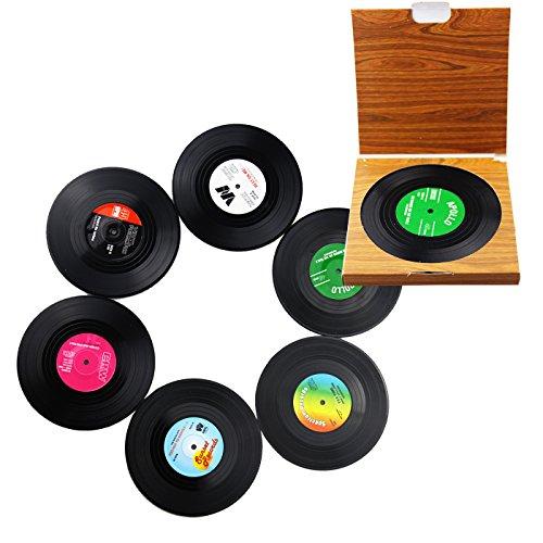 Keeping One® 6er-Set Getränke-Untersetzer im Schallplatten-Design, Silikon-Tischzubehör, Retro-Design