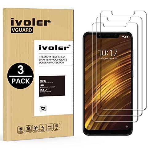 iVoler [מארז 3] סרט זכוכית מחוסמת עבור Xiaomi Pocophone F1 [אחריות לכל החיים], סרט מגן, מגן מסך