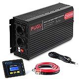 ALTERDJ 2500W Wechselrichter Reiner Sinus - Auto Wechselrichter 12v auf 230v Umwandler - Inverter Konverter mit 2 EU Steckdose und USB-Port - Spitzenleistung 5000 Watt
