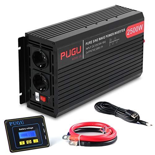 Hifeel Spannungswandler 2500 5000 Watt 12V 230V Reiner Sinus Wechselrichter Inverter mit 3 Meter Fernbedienung und Kabel