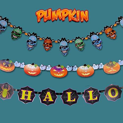 MyRalice 3-teiliges Halloween-Papiergirlande, Banner zum Aufhängen, Dekoration, Totenkopf/Halloween-Buche/Kürbis-Gruselige Innenparty, Kinderklassenzimmer, Spukhaus, Dekoration (10 Fuß pro Girlande)