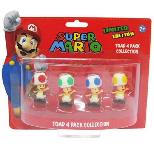 Super Mario 6cm Toad Minifiguren 4er Set (Mario Brothers Zubehör)