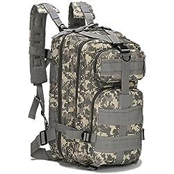 horeen 40L Deporte Mochila Militar Al Aire Libre Mochila Táctica Paquete de Asalto de 3 Días Mochila Molle Acampar Senderismo Trekking Caza Bug Out Bag (gray Camouflage)