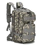 horeen 45L Zaino Sportivo Outdoor Tactical Pack Militare Pack d'assalto 3 Giorni Molle Zaino Campeggio Escursionismo Caccia Bug out Bag (Camouflage Grigio)