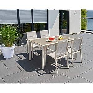 greemotion Gartenmöbel Set Stockholm beige/grau, 5-teilige Sitzgarnitur mit Esstisch, wetterfestes Lounge Set, Gartengarnitur für 4 Personen, Gartenlounge für die Terrasse aus Alu und Textilene