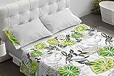 BURRITO BLANCO Juego de Sábanas 110 Algodón con Diseño De Hojas para Cama de Matrimonio de 135x190 hasta 135x200 cm/Juego de Cama 135, Color Verde
