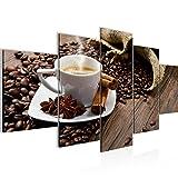 Bilder Küche Kaffee Wandbild 150 x 75 cm Vlies - Leinwand Bild XXL Format Wandbilder Wohnzimmer Wohnung Deko Kunstdrucke Braun 5 Teilig - MADE IN GERMANY - Fertig zum Aufhängen 501853a