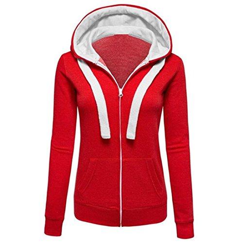 Kapuzenpullover Damen, DoraMe Frauen Warm Mantel Hoodies Zipper Kapuzen Jumper Pullover Lässig Jacke (3XL, Rot)
