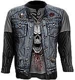 Spiral T-shirt à manches longues pour homme Motif Trash Metal Noir