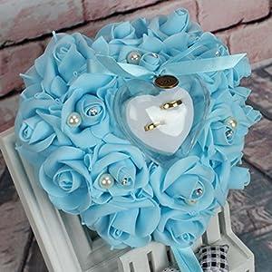 L-DiscountStore Romantische Rose Hochzeit Ringkissen Herz Ring Kissen Schmuck Box