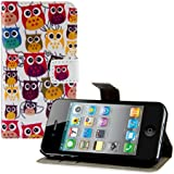 kwmobile Hülle für Apple iPhone 4 / 4S - Wallet Case Handy Schutzhülle Kunstleder - Handycover Klapphülle mit Kartenfach und Ständer Eule Familie Design Mehrfarbig Pink Weiß