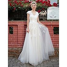 kekafu Una línea V-cuello Longitud Piso En Tul vestido de novia con apliques de