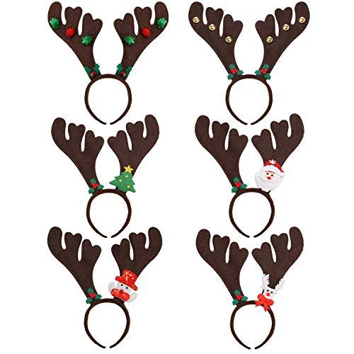 ZOYLINK 6PCS Rentier Geweih Haarreif Rentiergeweih Stirnband mit Bell Bell, Weihnachtsbaum, Santa Claus, Schneemann, Elchdekoration Weihnachten Ostern Partei Stirnbänder Haarschmuck -