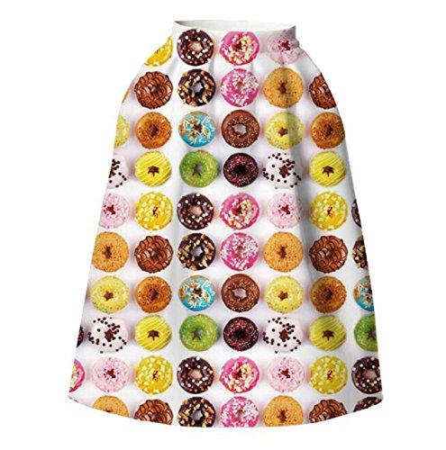 Lami elastico in vita digitale stampa svasato gonna donna a pieghe Casual per ragazze (S/M, Color Donuts)
