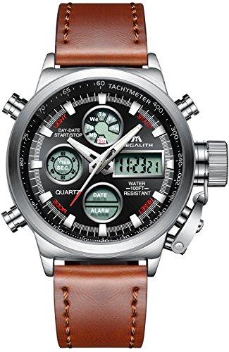 Herren Uhren Militär Sport Wasserdichte Chronograph Analog Digital Groß Armbanduhr Männer Dual Display LED Licht Stoppuhr Shock Resistant Casual Armbanduhren mit Braun Echtes Lederband (Silber)