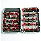 40 piezas/lote trucha ninfa pesca con mosca TOPIND cebo de pesca de pesca de 6 colores mosca con caja de cebo artificial