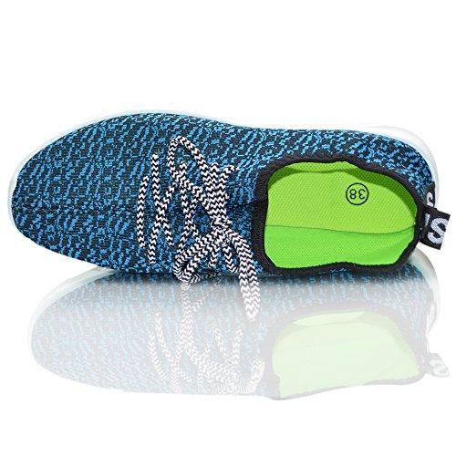 Xelay Damen Laufschuh Bequem Schnürer Yeezy Inspiriert Turnschuhe Schuhe UK Größe 36 - 8 Blau