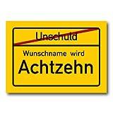 Herz & Heim® Riesiges PVC Ortsschild Zum 18. Geburtstag mit Wunschname 70cm x 50cm
