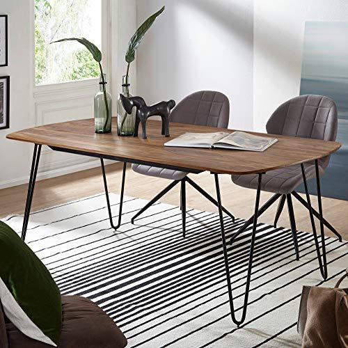 KS-Furniture KELA Table à Manger en Bois Massif sheesham 200 x 100 x 76 cm – Table à Manger avec Pieds en métal – Table carrée en Bois Massif – Table de Cuisine Moderne Marron