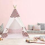MECHHRE Kinderzelt Tipi Teepee Mit Bodenmatte Drinnen & Draußen 120*120*160cm Spielzelt Mädchen Junge Haus Privat Zelt Prinzessin BaumwolleSegeltuch (Rosa)
