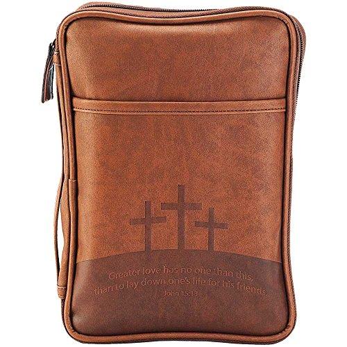 Braun Drei Kreuzen 7,5x 10,25Leder Wie Vinyl Thinline Bibel Schutzhülle mit Griff 10.25