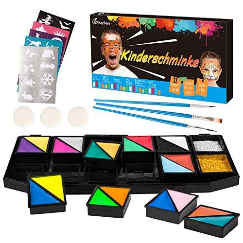 Kinderschminke Körperfarben Set, MayBeau Wasserlösliche Schminkfarbe Kinder Schminkset 20 Farben...