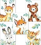 Lalelu-Prints 5er Set Bilder Kinderzimmer Deko Junge Mädchen DIN A4 Waldtiere Reh Bär Fuchs Hase Wildschwein I Babyzimmer Baby I Poster Kinderbilder Babybilder Wandbilder