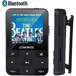 CFZC Lecteur MP3 Bluetooth 4.2 16Go Lecteur Baladeur avec Pince, Podomètre, Radio FM, Enregistrement Vocal, Port Carte SD