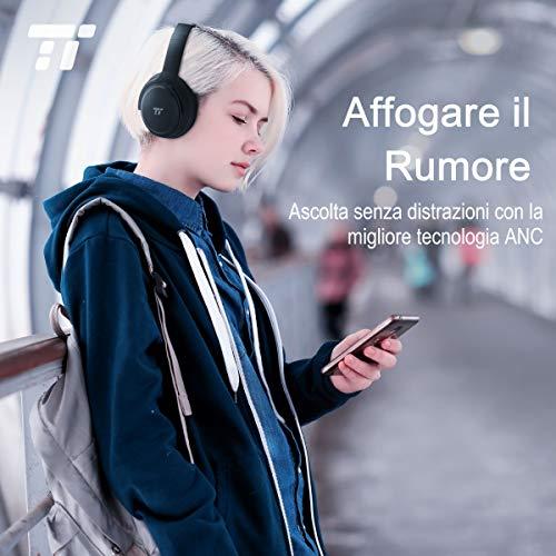 TaoTronics Cuffie Bluetooth 5.0 Senza Fili Over-Ear 30 Ore Riproduzione Cancellazione Attiva del Rumore Pieghevoli Bassi Potenti Doppi Altoparlanti 40mm Microfono Integrato CVC 6.0 per Android iOS TV