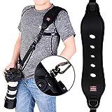 COOLWILL - Tracolla per Fotocamera Professionale ad Azione Rapida, con Clip Quick Release e Funzione di Sicurezza, Sistema Quick-Lock, Fino a 15 kg, Colore: Nero