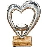 Boltze Teelichthalter Herz Metall Kerzen-Halter Holz Silber 21cm