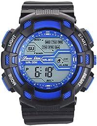 YAZILIND unisexe Sports Watch multifonction Led lumière numérique étanche montre-bracelet (bleu)