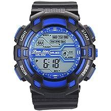 Yazilind reloj deportivo unisex multifunci¨®n llev¨® luz digital reloj impermeable (azul)