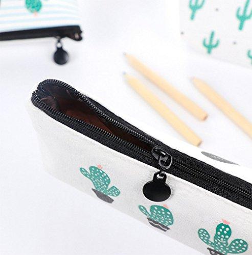 Demarkt 3pcs Cactus Modèle Stylo Sac Petite Poche Boîte Papeterie Sacs Zipper Cosmetic Bag Pour étudiant( Un Cactus + Quatre Cactus + Cactus Multiples)❤