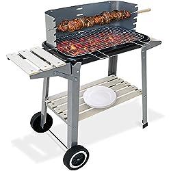 Deuba   Barbecue Mobile avec Grille réglable • avec Roues et poignée • 83 x 44 x 87 cm • métal et Bois   BBQ, grillades, Cuisson