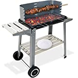 BBQ Trolley Charcoal Barbecue Grill Outdoor Patio Garden with Side Trays and Storage Shelf