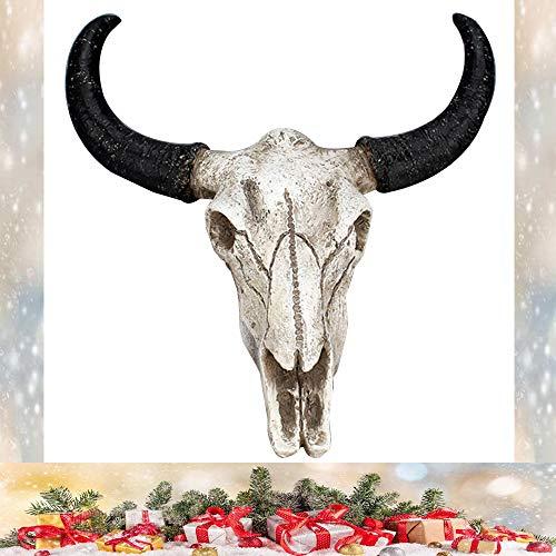 KOBWA Bull-Totenkopf-Dekoration, Kuh-Totenkopf, Wanddekoration, 3D-Kuh-Totenkopf-Dekoration, Wanddekoration für Schlafzimmer, Badezimmer, Büro, rustikale Wanddekoration und Halloweenl-Geschenke