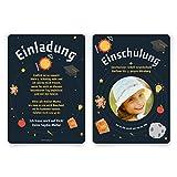 10 x Einschulung Einladungskarten Einschulungskarten Schulanfang Set - Lerngalaxy