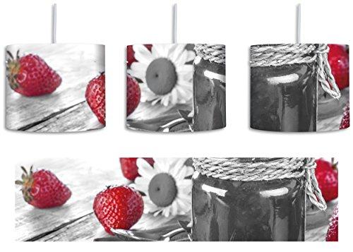 fruchtige Erdbeeren vor Marmeladenglas schwarz/weiß inkl. Lampenfassung E27, Lampe mit Motivdruck, tolle Deckenlampe, Hängelampe, Pendelleuchte - Durchmesser 30cm - Dekoration mit Licht ideal für Wohnzimmer, Kinderzimmer, Schlafzimmer