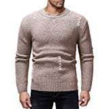 Xmiral Herren Pullover Strickwaren Herbst Winter O-Neck Striped Outwear Gestrickte Top (XL,Khaki)