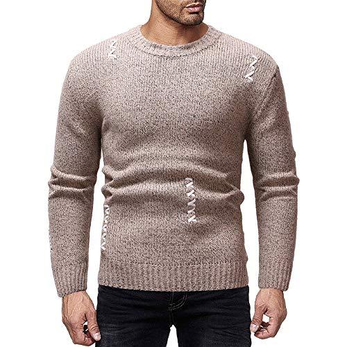 Xmiral Herren Pullover Strickwaren Herbst Winter O-Neck Striped Outwear Gestrickte Top (M,Khaki)