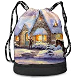 Multifunctional Bundle Backpack - Memories of Christmas 3D Print Drawstring Backpack - Portable Shoulder Bags Travel Sport Gym Bag - Yoga Runner Daypack Shoe Bags